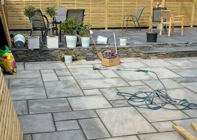 modern low maintenance garden with natural materials used including limestone sandstone & slate 2